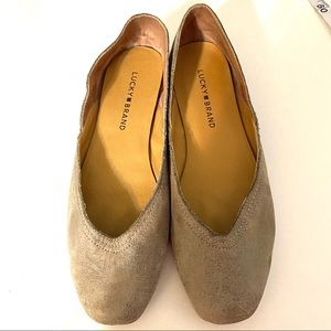 Lucky Brand Gray Leather Alba Flats Size 8
